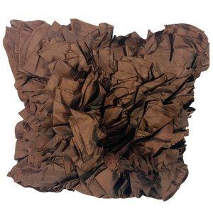 Pier 1 Brown Ruffle Shaggy Sateen Accent Pillow